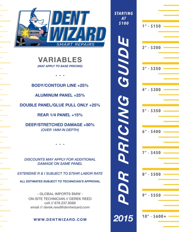 Dent Wizard Price Sheet Stat Farm Hail Matrix Chart